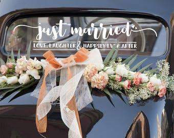 Mariage Decal - Marie - amour, rires et heureusement jamais après - sticker voiture mariage voiture Decal - décor de mariage-