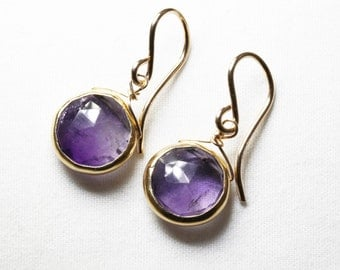 Real Amethyst Earrings Gold Bezel Earrings Genuine Amethyst Jewelry February Birthstone One of a Kind BZ-E-105-Am/g
