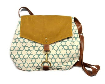 satchel • waxed canvas crossbody bag - geometric print • hand printed canvas - brown waxed canvas • every day bag - cross body