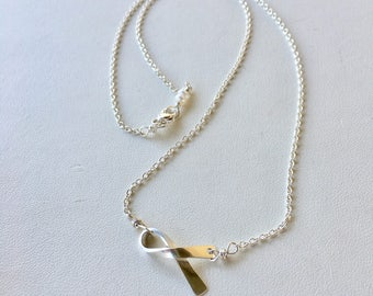 Breast Cancer Ribbon Necklace, Silver Ribbon Necklace, Gold Ribbon Necklace, Breast Cancer Support, PINK Necklace