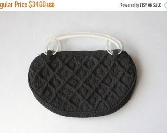 STOREWIDE SALE 1940s Purse / Vintage 40s Lucite Handle Cordé Purse / 40s Black Cordé Lucite Handles Bag