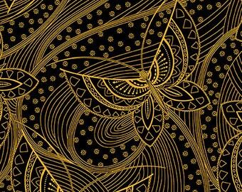 Butterfly Fandango Gold Metallic Black Benartex Fabric 1 yard