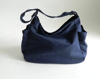 Navy canvas Diaper bag , Vegan tote bag , Travel Hobo Shoulder bag , Handbag Gift for her, women zipper Bag / SALE 30% - no.101 RENEE