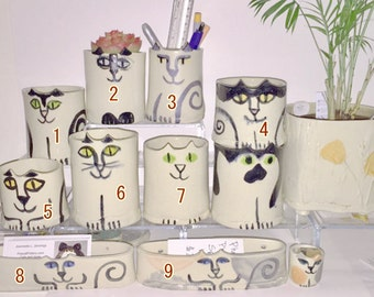 Cat pottery planter vase or pencil holder: Hand Made  art feline design veterinary office decor pet resort