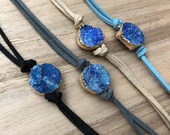 Oceanic Collection! Suede Wrap Bracelet, Suede Choker and Bracelet, Druzy Bracelet, Druzy Jewelry, Druzy Choker, Boho Jewelry, Women's Jewel