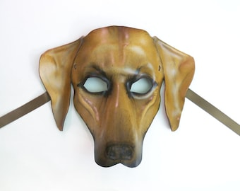 Leather Mask of a Rhodesian Ridgeback Dog could also be Great Dane Hound Vizsla wearable art