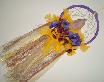 Purple & Gold Boho Dream Catcher, Feathers, Flowers, Yarn, Yellow Tulle, Large Purple Agate, OOAK, Holiday Gift, Tribal, Gypsy, Wall Decor