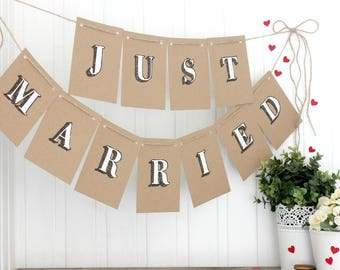 Just Married Bunting. Handpainted Bunting. Just Married. Wedding Decorations. Indoor Bunting. Wedding Bunting. Wedding Banner. Garland