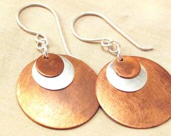 Mixed Metal earrings - copper silver earrings - disk earrings - boho copper - boho earrings - layered earrings - boho mixed metal - copper
