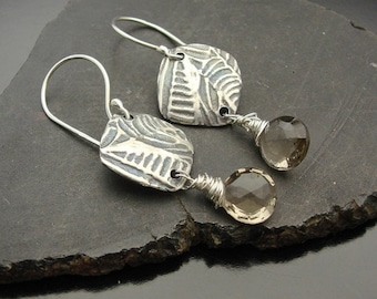 ON SALE Earrings, silver,  topaz, artisan,  handmade , Tribute - Sterling Silver and Light Smokey Quartz Earrings