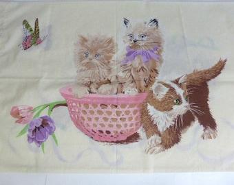 Vintage Kitten Print Pillowcase Three Little Kittens Pillowcase Bedding Cat Lover Baby Cats  3 Kittens Playing Repurpose Bedding Linens