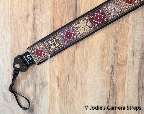 Patchwork Camera Burgundy Strap 2 in Wide Custom Padded Fits DSLR SLR 5491 5584 6328