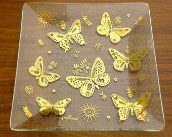 Pair of Mid Century Dishes Signed Georges Briard / Metallic Gold Butterfly Square Textured Glass Plates / Tidbit Trays