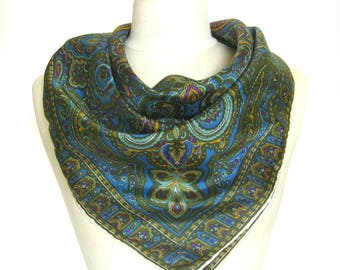 1950s Vintage Scarf / Paisley Print in Blue and Olive / Rolled Hem/ Rayon Twill / Japan