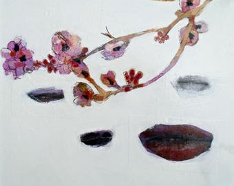 EMERY original painting 'transience of life nothing but renewal' expressionism folk  outsider lips cherry blossom woman