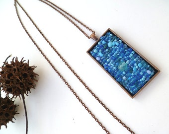 Azure melange necklace, antique copper bezel bead embroidery necklace, romantic pendant, bohemian, Coachella, statement