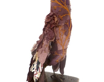 Britney bird soft sculpture, fiber art, home decor textile art bird, hand stitched bead embroidery, self standing collectible, up cycled