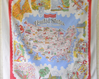 Vintage United States Tablecloth • Mid Century Souvenir Tablecloth • Colorful Souvenir US Map Tablecloth