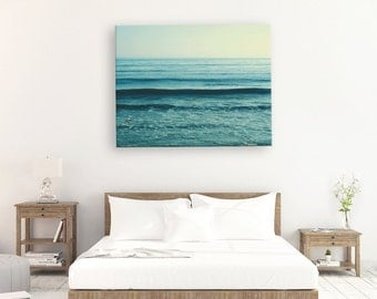 beach canvas art, blue ocean wave photo beach photography seaside coastal decor yoga studio art calm peaceful waves ultramarine, canvas wrap