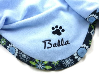 Pet Blanket  Personalized   Blue Floral - New Style