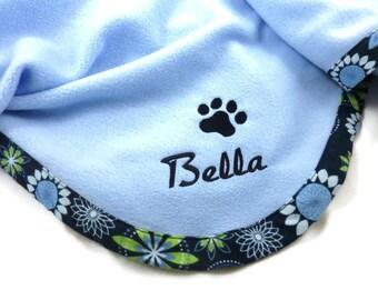 Pet Blanket.Personalized Pet Blanket. Dog Blanket. Cat Blanket. Fleece Pet Blanket. Blue Floral Pet Blanket
