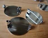 "pinbacks 1"" steel round 12pcs silver brooch pin backs jewelry crafts supplies"
