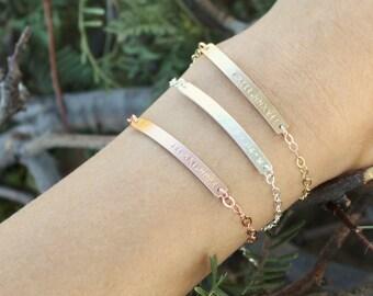 Custom Name Bracelet, Personalized Bracelet, Silver, Rose or Gold Bar Bracelet, Personalized Jewelry, Bridesmaids Gift, Gift for Her