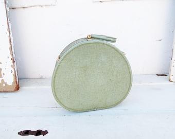 1950's Mint Suitcase // Mid-Century Fabric Round Luggage // Vintage Home Decor