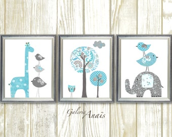 Nursery Art Baby Boy Nursery Decor Blue gray nursery wall art elephant nursery giraffe nursery bird Tree Kids wall art - Set of three prints