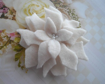White Cream Wedding Christmas Winter Poinsettia Statement Adornment Brooch Pin Or Hair Clip Holidays Handmade by Marilyn handcraftusa Etsy