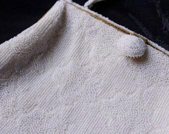 White Vintage Beaded Evening Bag Handbag by Birks
