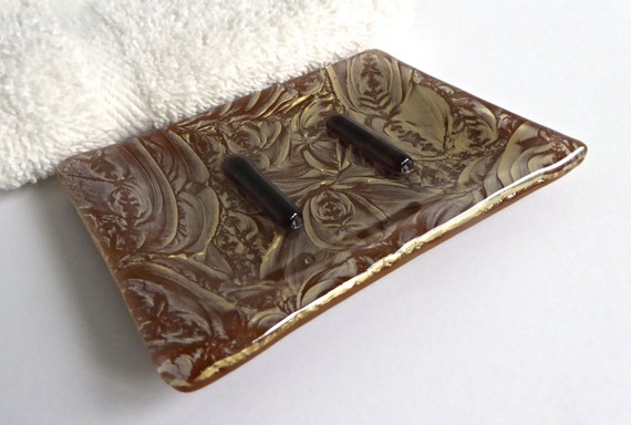 Small Fused Glass Soap Dish in Gold and Cinnabar Brown