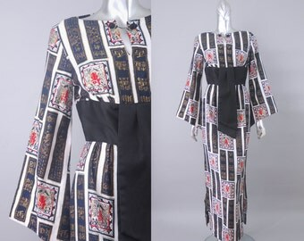 vintage alfred shaheen asian scrolls dress | 1970s alfred shaheen dress | 70s maxi dress