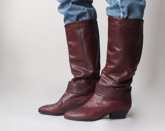 oxblood leather boots | soft leather knee high boots | 80s 6.5