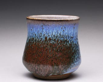 handmade pottery tumbler,ceramic cup, teacup with orange shino and lavender blue ash glazes