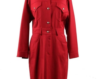 Authentic MOSCHINO Vintage Red Pure Wool LONG SLEEVE dress size 42