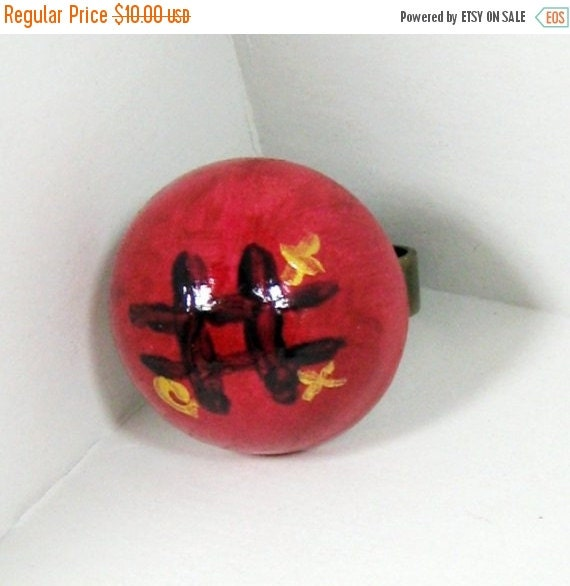 ON SALE Wood Ring, Tic Tac Toe Jewelry,  Dome Ring, Tic Tac Toe Ring, Whimsical Ring, Whimsical Jewelry, Adjustable