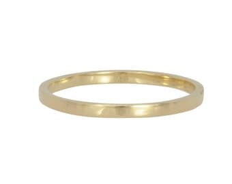 Yellow Gold 1.5x1mm Ring, Solid 18K Yellow Gold Skinny Wedding Band, Flat Edge, Sea Babe Jewelry