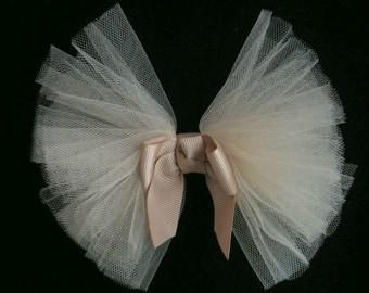 5.5 Inch TAN Grosgrain TULLE Net Ribbon Bow Tie Applique Bridal Baby Hair Accessory Pin
