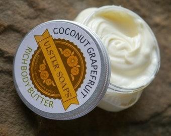 Coconut Grapefruit Body Butter-hand creme/soft hand/beach/ocean/tropical/dry skin/moisturizer/body lotion/body cream/hand lotion, homemade