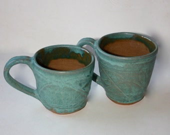 Ceramic Mug Pair in Aqua Stoneware Hand Thrown Vermont Made Each Hold Almost 1.5 Cups