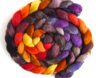 BFL Wool Roving - Hand Painted Spinning or Felting Fiber, Fall Festival