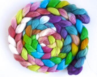 Organic Polwarth/Cultivated Silk Roving - Handpainted Spinning or Felting Fiber, Innocent