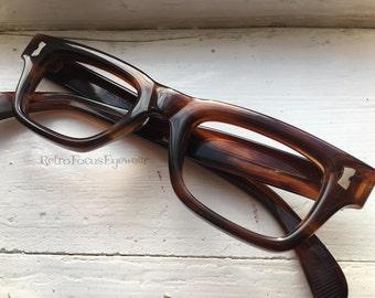 Thick Chunky SRO USA 60's Tortoise Hornrim Hipster Eyewear Prescription Glasses Eyeglasses Frames Mid Century Modern Mad Men Fashion
