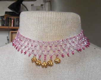 Netted Weave Beaded Choker Necklace in Rose Pink Rose Red with Gold Dancing Bells Adjustable Length OlyTeam