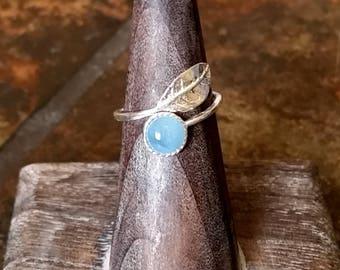 Aquamarine Sterling Silver Leaf Wrap Ring