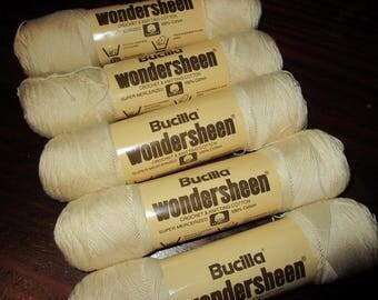 Lot of 5 Skeins Wondersheen Bucilla Cotton Yarn Color 9 Matching Dye Lot Off White Ecru Wonder Sheen