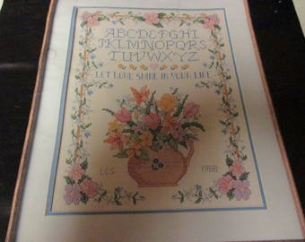 No Count Stamped Cross Stitch Kit Meadow Flowers Sampler Cross Stich Kit Dimensions 3077 Has been Started