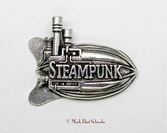 "A great looking Airship with lots of detail, 3 smoke stacks and the word ""Steampunk"" right on it - declare your style!  - pewter double tac"