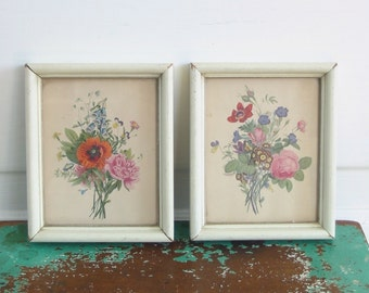 Vintage Pair Floral Prints, Shabby Cottage Chic Art, Flowers Prints, Small Prints Flowers